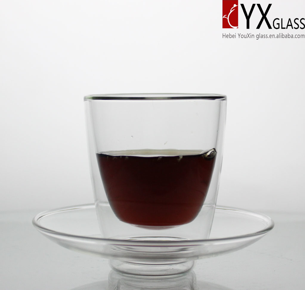 250 Heat-Resistant Borosilicate Glass Tea Cup with Glass Saucer/Double Wall Glass Coffee Cup /Double Layer Glass Coffee Cup with Glass Saucer