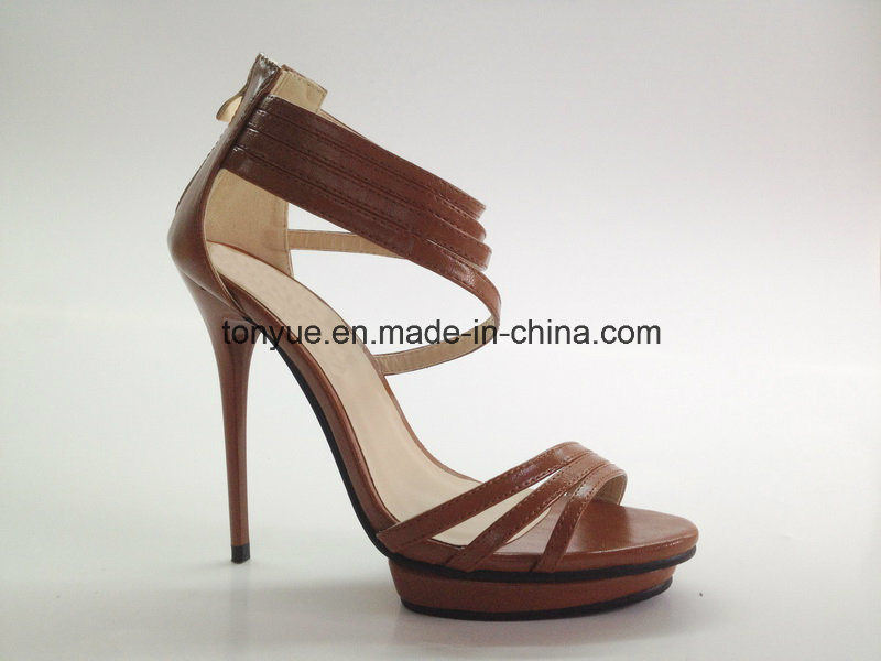 Lady Leather Shoe Thin Heel and Zipper Decroration with Flatform