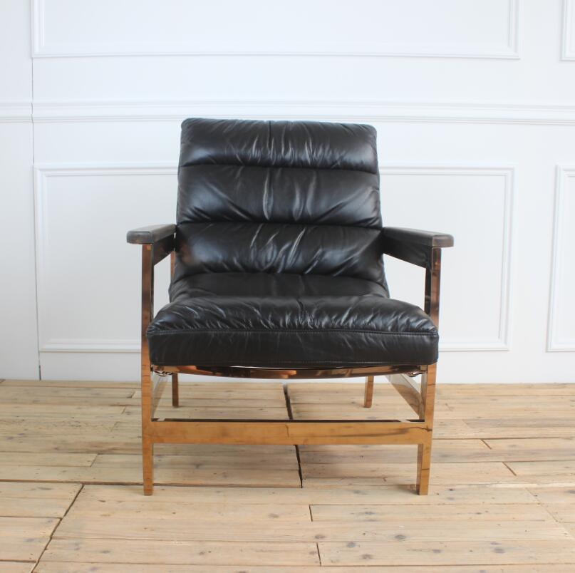 Gold Metal Frame Black Leather Leisure Chaise Lounge Chair