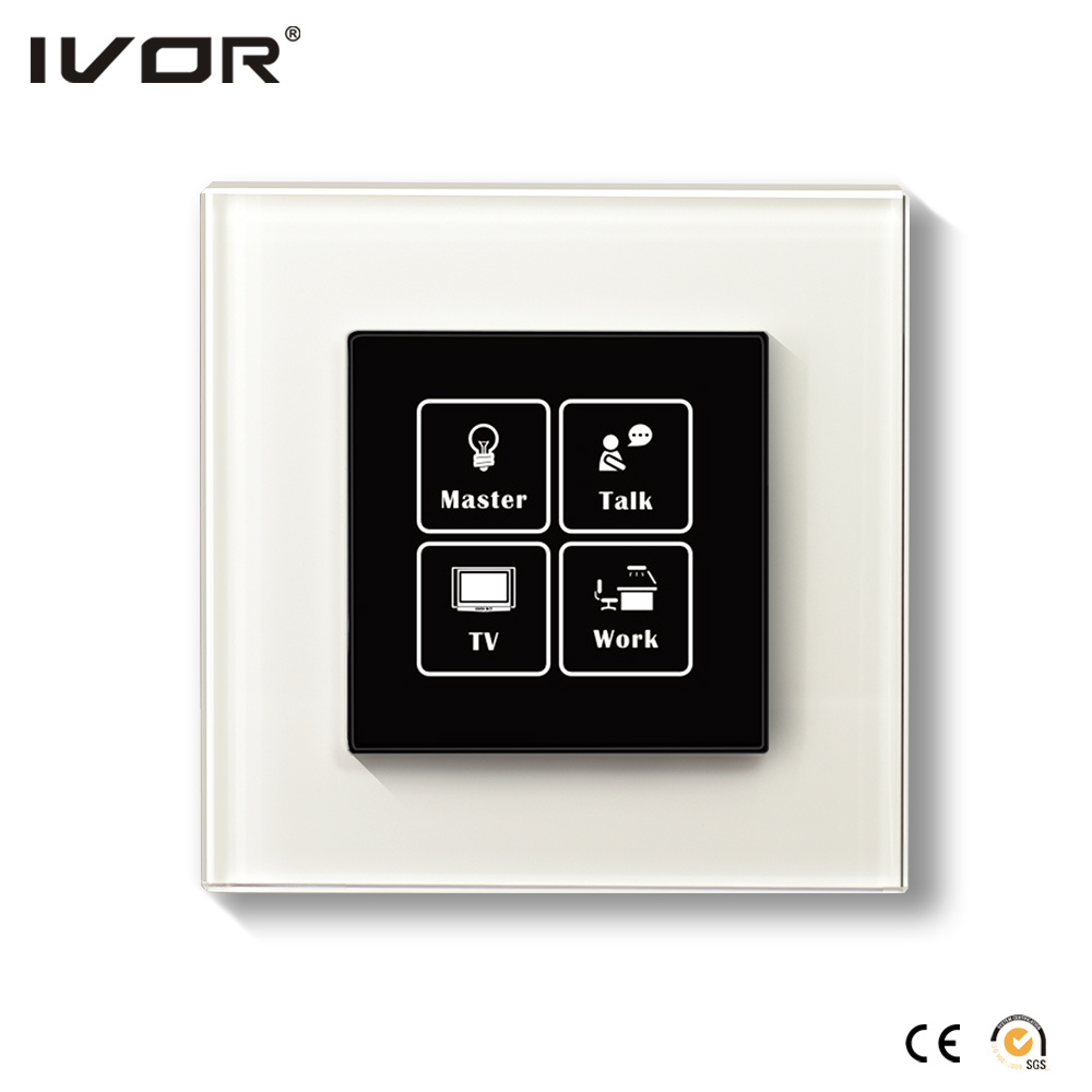 Networking Lighting Switch Touch Panel with Scene Control Glass Frame (HR1000-GL-S-CAN)