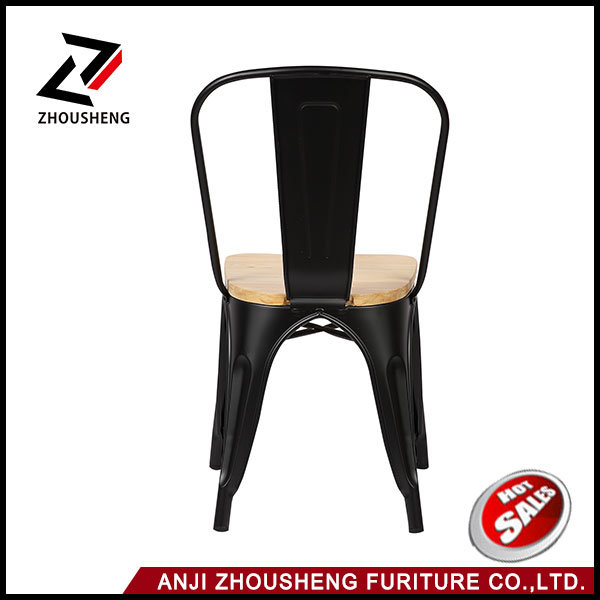 2016 New Adeco Metal Stackable Industrial Chic Dining Bistro Cafe Side Chairs with Wood Seat