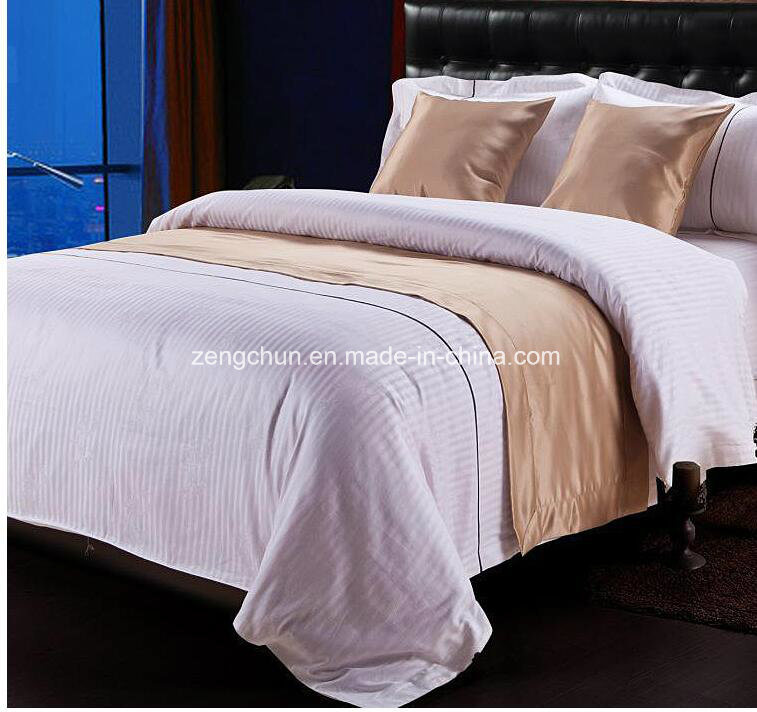 Hotel Collection Bed Sheet Set in White1cm Stripe