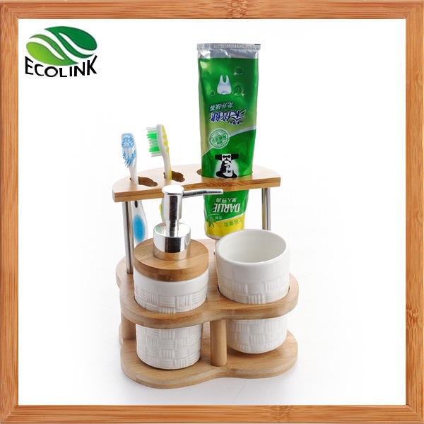 Ceramic Bathroom Accessories with Bamboo Stand