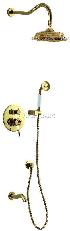 Concealed Brass Gold Color Shower Set with Fake Jewelry Handle (LG1016)