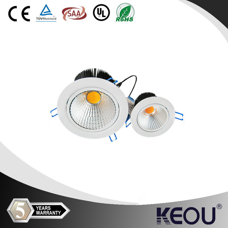 Aluminum CE RoHS UL SAA Certified COB LED Recessed Downlight