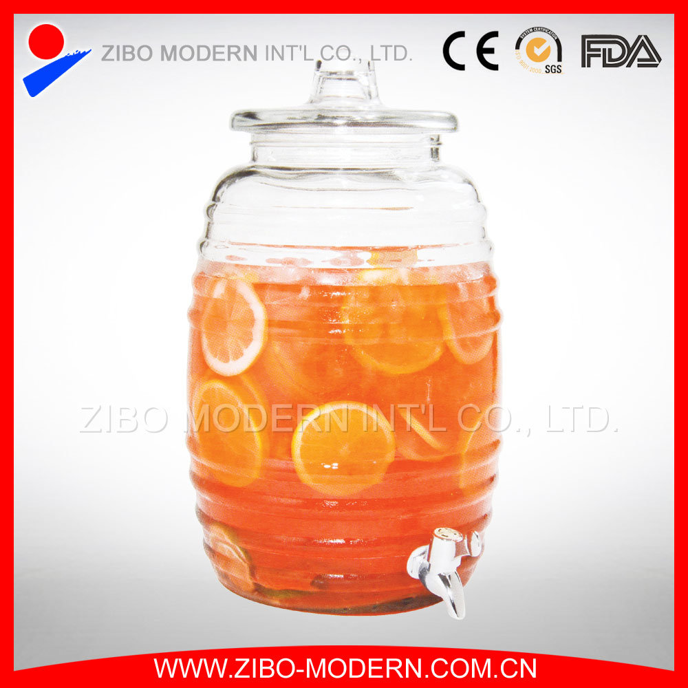 Glass Beverage Drink Dispenser with Spigot and 5 Gallon Bucket