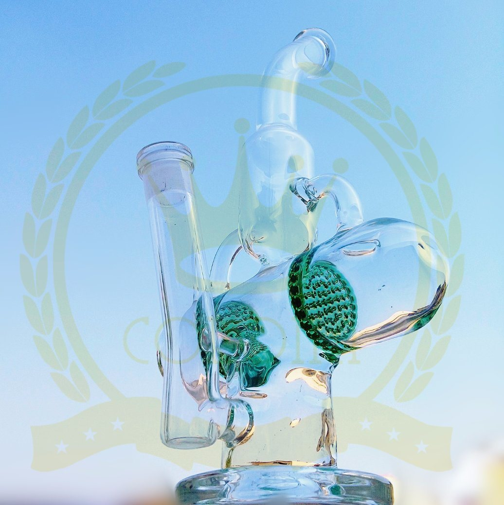 Mobius Glass Water Smoking Pipe with Two Matrix Perc in 14.4mm Joint Size Bubbler Heady Hookah