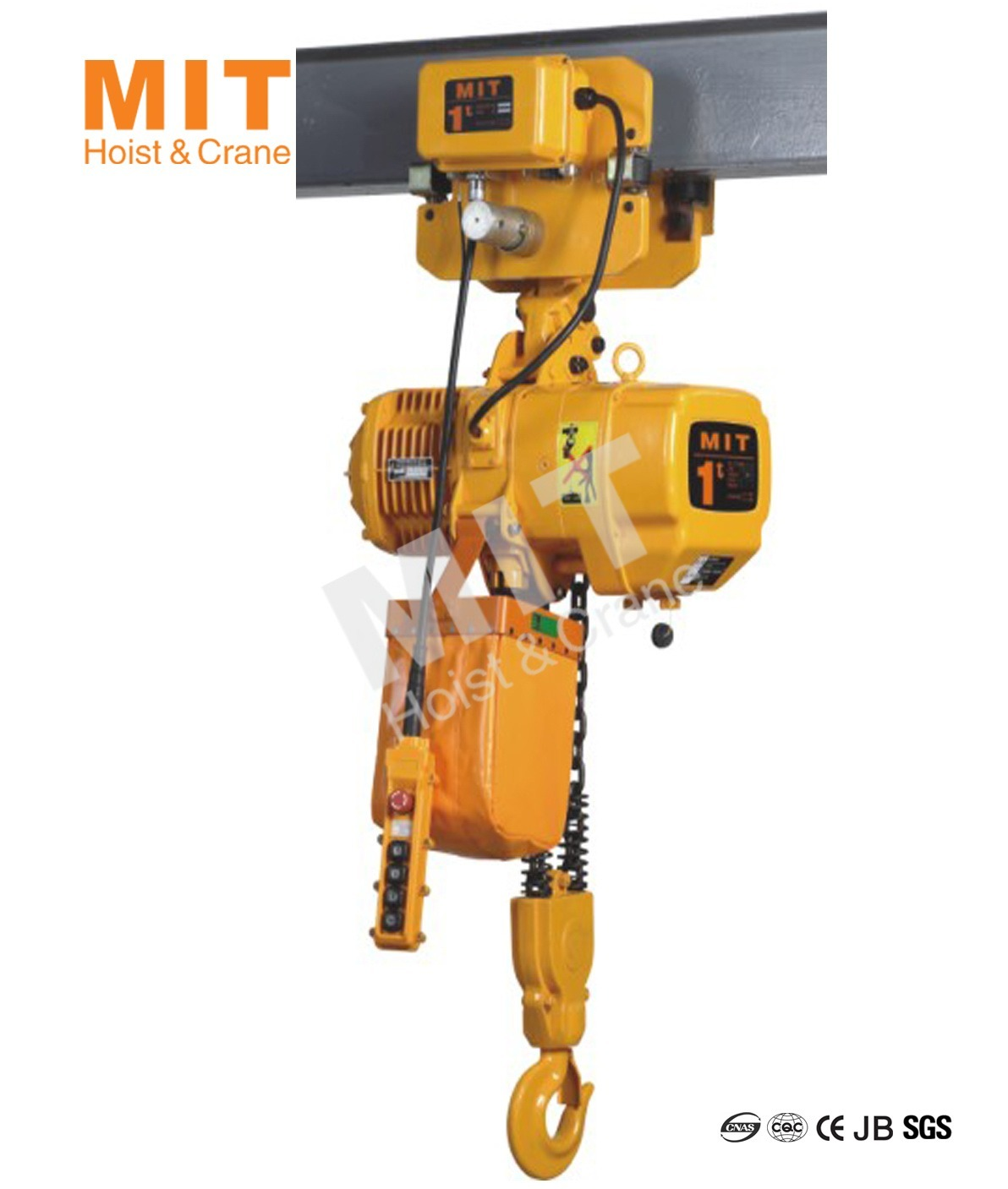 Mit electric chain hoist 1t with motorized trolley 2 falls for Motorized rotating crane hook