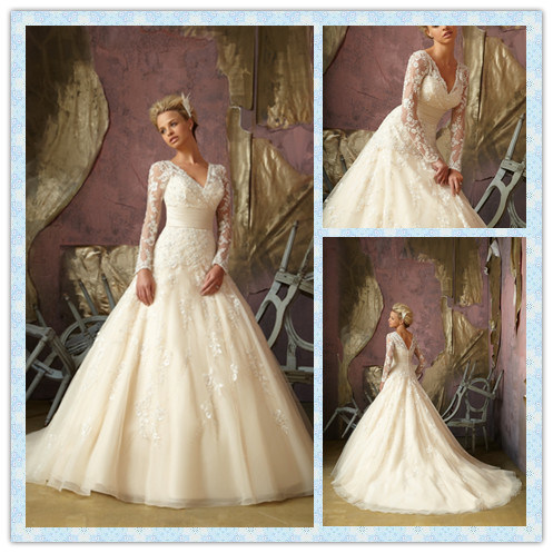 Cheap sale long sleeves wedding dresses floor length 2012 for Long sleeve wedding dress for sale