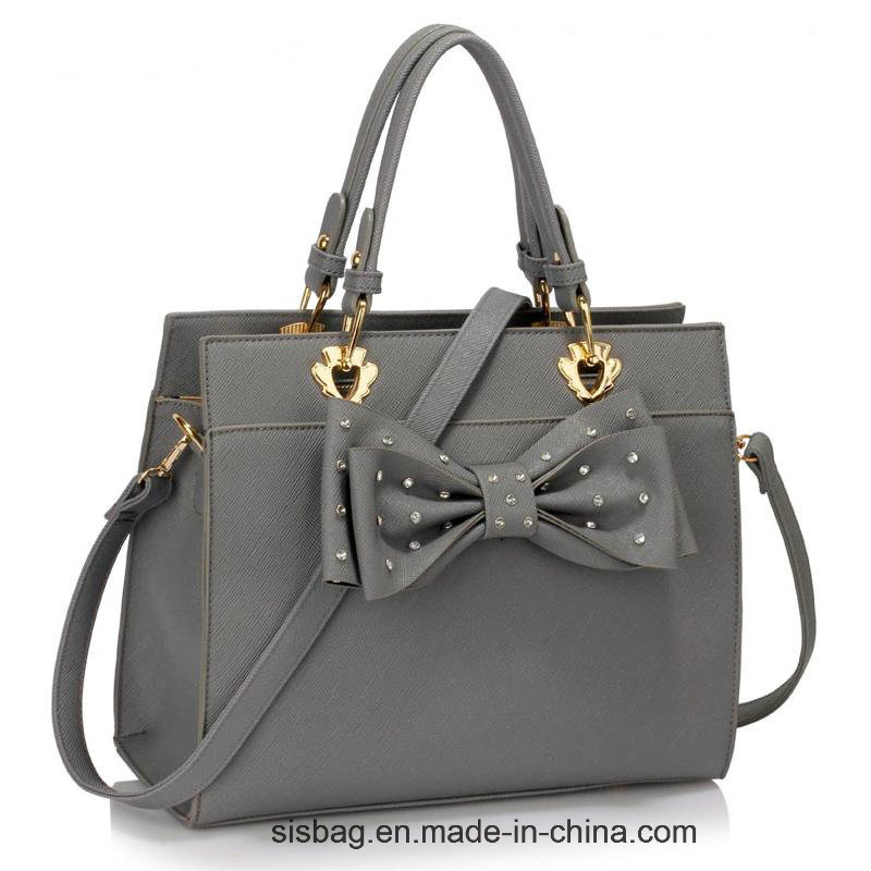 New Trendy Diamond-Studded Women Handbag Grey Bow Tie Grab Bag