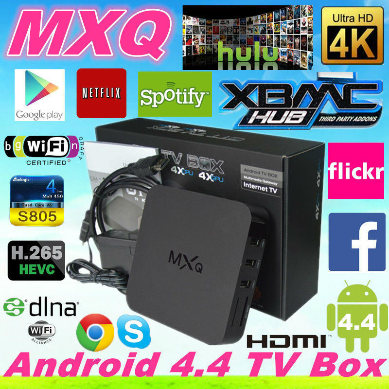 Quad Core Amlogic S805 TV Box Android4.4 Mxq Box with 4k Android Smart TV Box