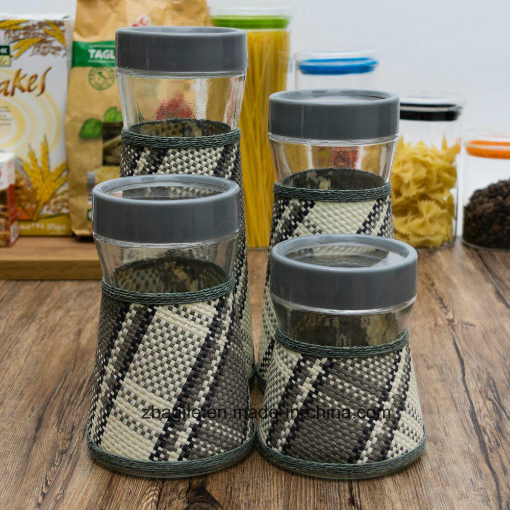 Factory Wholesale New Design Elegant Grey Storage Glass Bottle (100075)