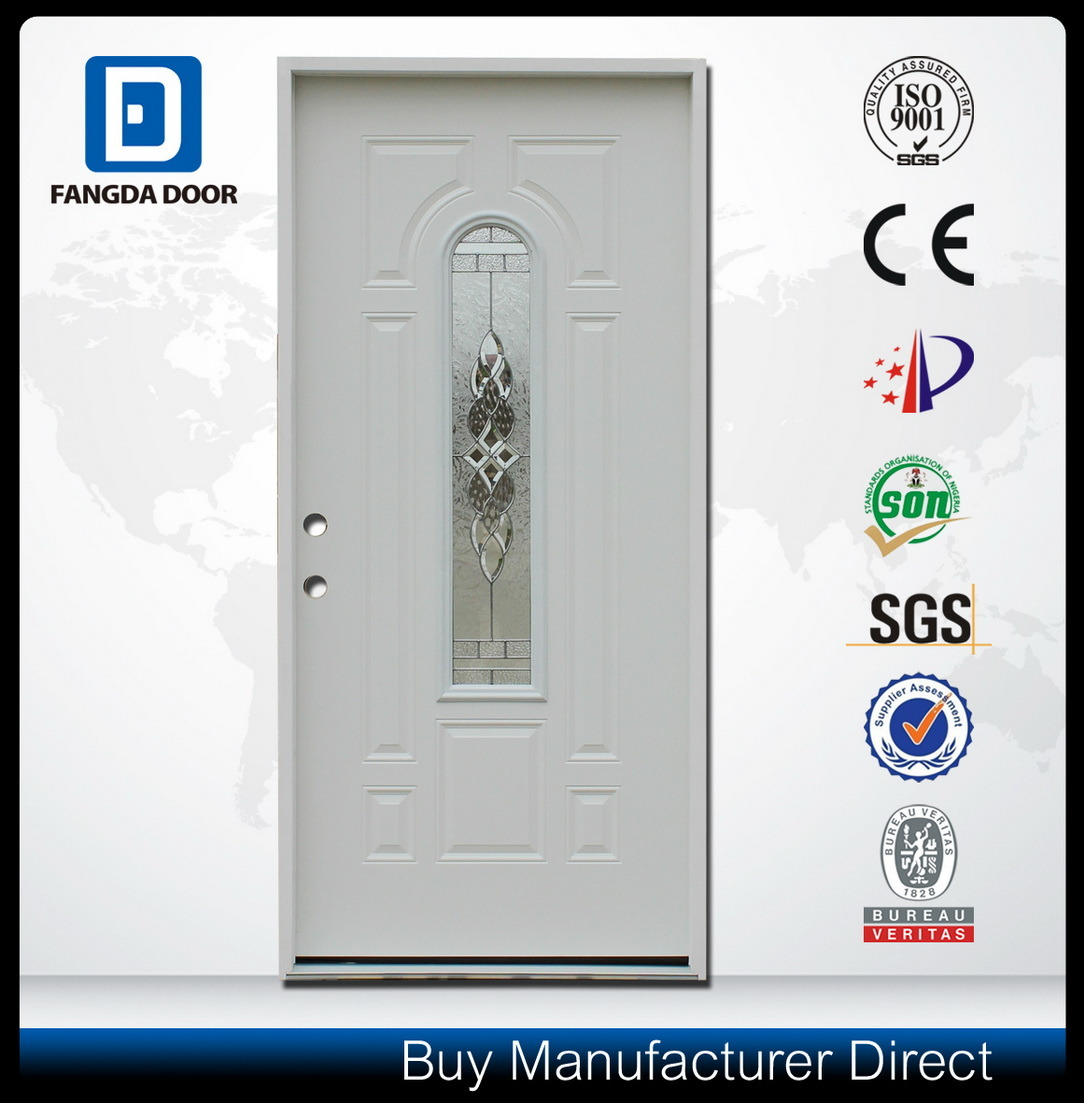 Center Arch Glass Inserted Prehung Steel Door