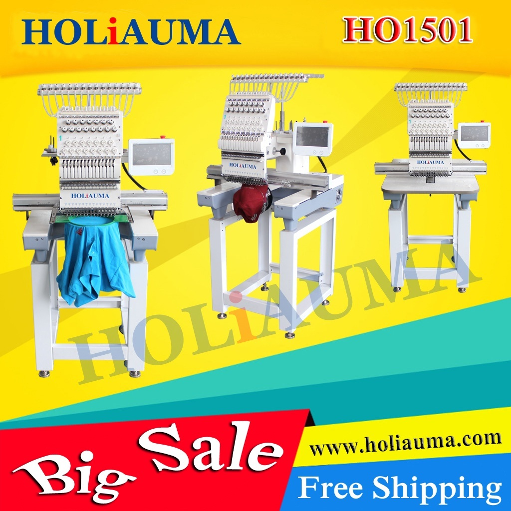 Holiauma New 15 Colors Single Head Computerized Embroidery Machine for Cap/T-Shirt/Flat Garment Multi Embroidery