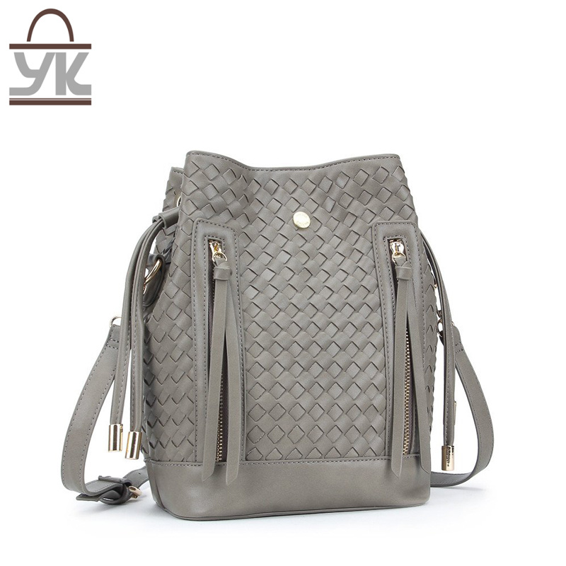Trendy Style PU Leather Bucket Woven Ladies Handbag