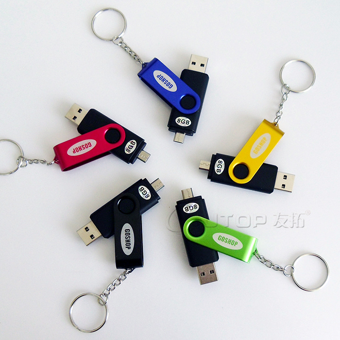 Swivel OTG Mobile Smartphone Dual USB Pendrive for Android (YT-1201-02)