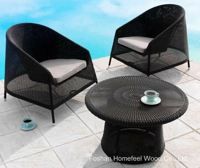 Outdoor 3 Pieces Black Wicker Coffee Table Set Ot15