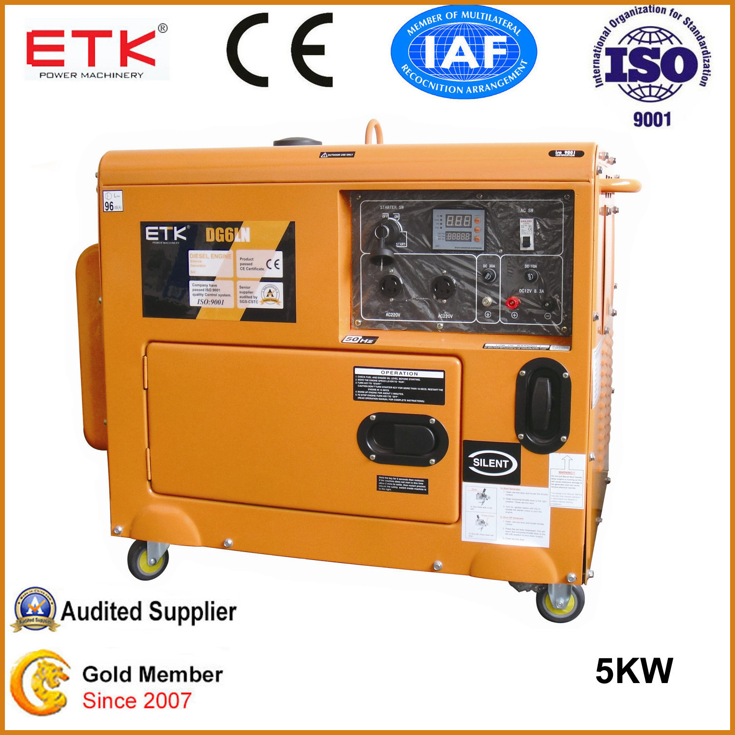 China 5kw Single Cylinder Small Diesel Generator Set with Ce and