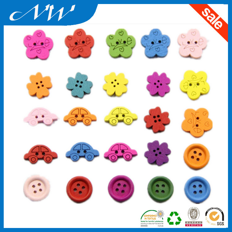 Customizes Laser Engraved Wooden Buttons with Colorful Painted