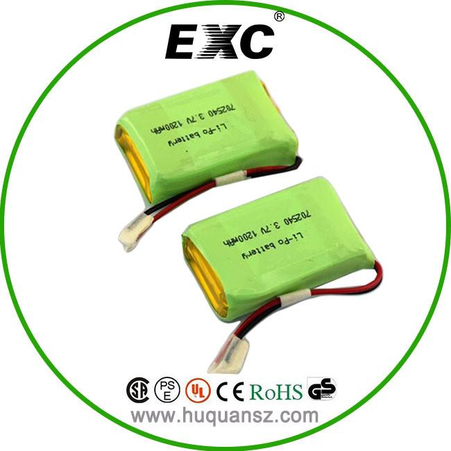 702540 1200mAh 3.7V Li-Polymer Battery Pack