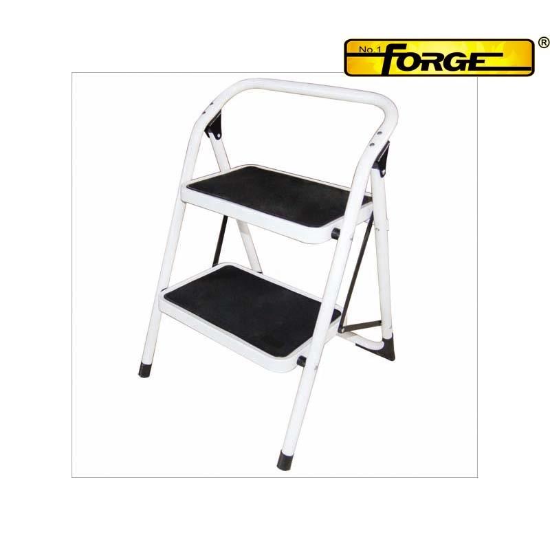 2 Steps Steel Ladder with Wide Metal Steps Non-Slip