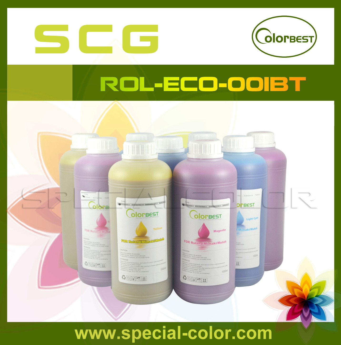 6 Colors 1000ml Eco Solvent Printing Ink for Roland Printer