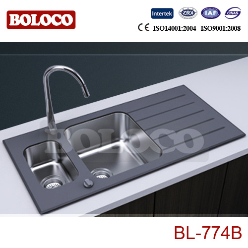 China Black Glass Kitchen Sink (BL-774B) Photos & Pictures - Made ...