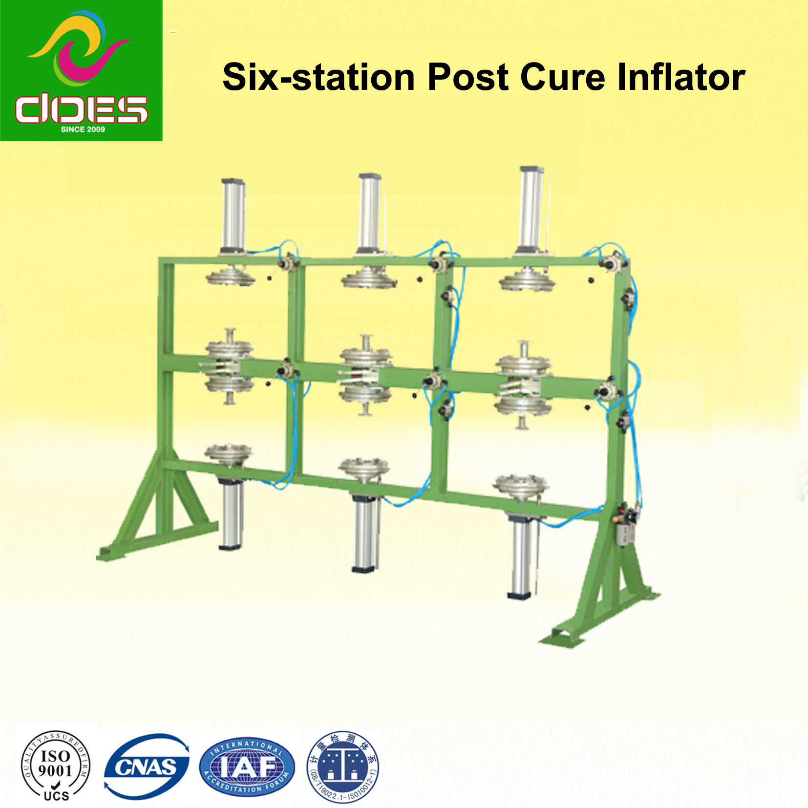 Six Station Post Cure Inflator Rubber Tire Machine