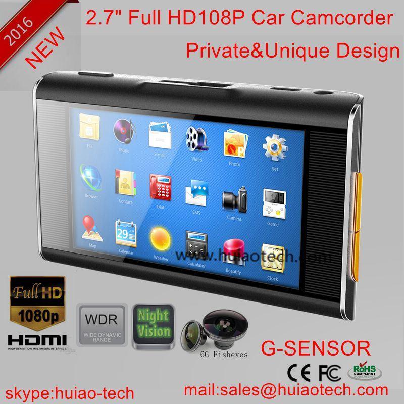 "2016 Private Housing Car Black Box Car DVR with 2.7"" LCD, Night Vision LED, H. 264 Car DVR-2726"