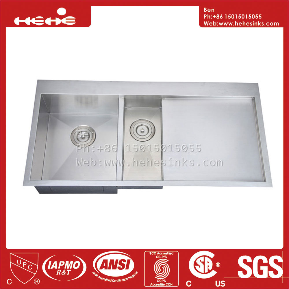 41X21 Inch Stainless Steel Top Mount Double Bowl Handmade Kitchen Sink with Drain Board