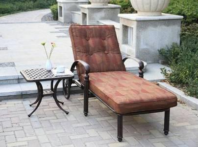 Outdoor Patio Garden Lawn Cast Alumnim Chaise Sun Lounge Furniture Chair with Wheels Side Tea Table
