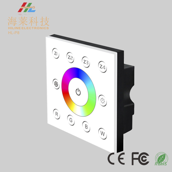 12-24V DC Fashionable Multiple Zone RGBW 4CH DMX512 4CH LED Touch Panel Controller