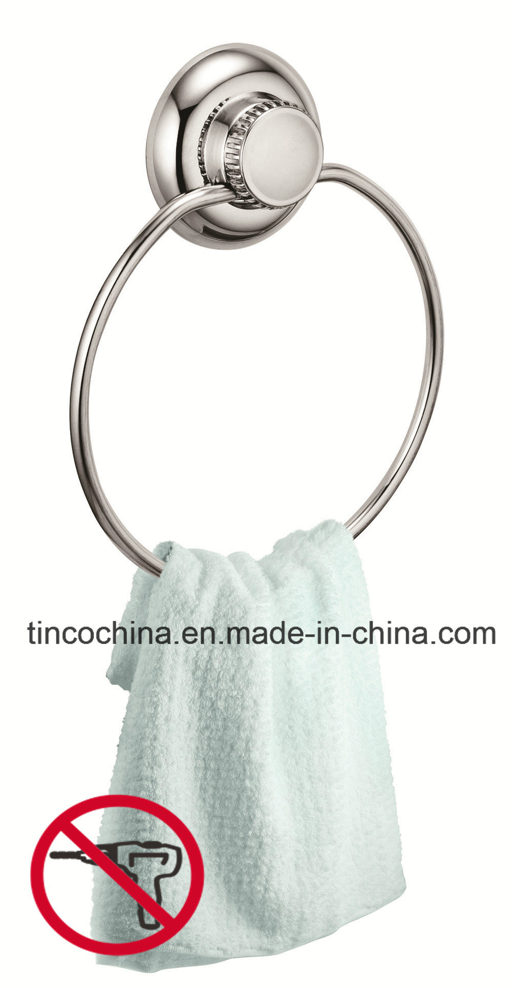 304 Stainless Steel Bathroom Towel Ring with Vacuum Suction