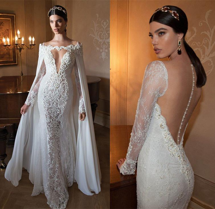 China Berta Wedding Dresses Long Sleeve Shawl Lace Bridal