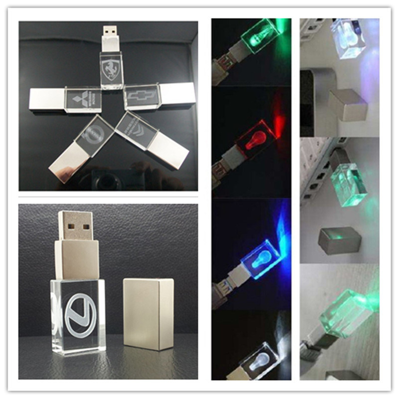 Hot Sell Customized Laser Engrave 3D Logo Crystal USB Flash Drive with Different Color LED Light