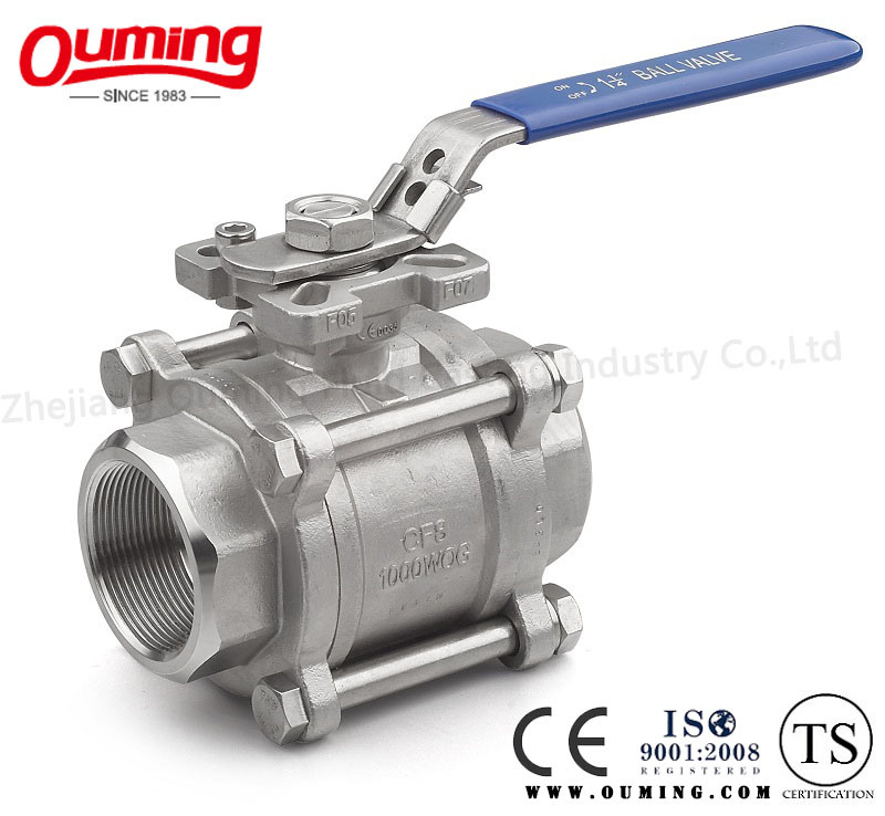 Three Pieces Threaded Ball Valve with Direct Mounting Pad