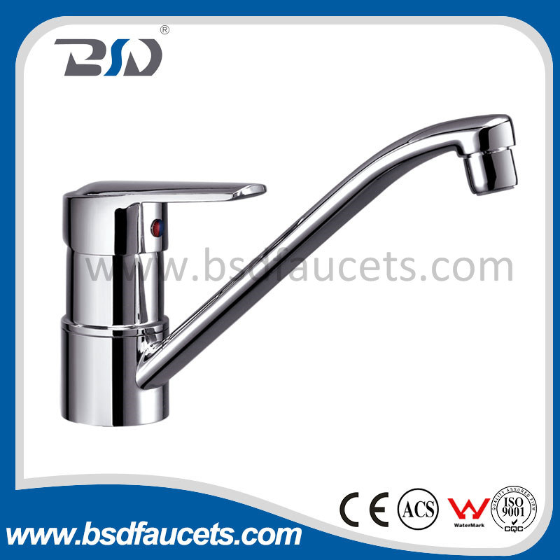 High Neck Deck Mount Bathroom Sink Faucet
