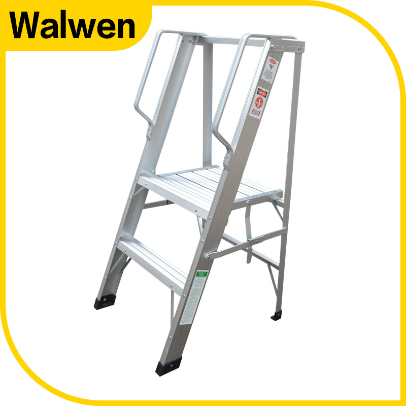 Best Selling 3 Step Folding Aluminum Platform Ladder with Handrail