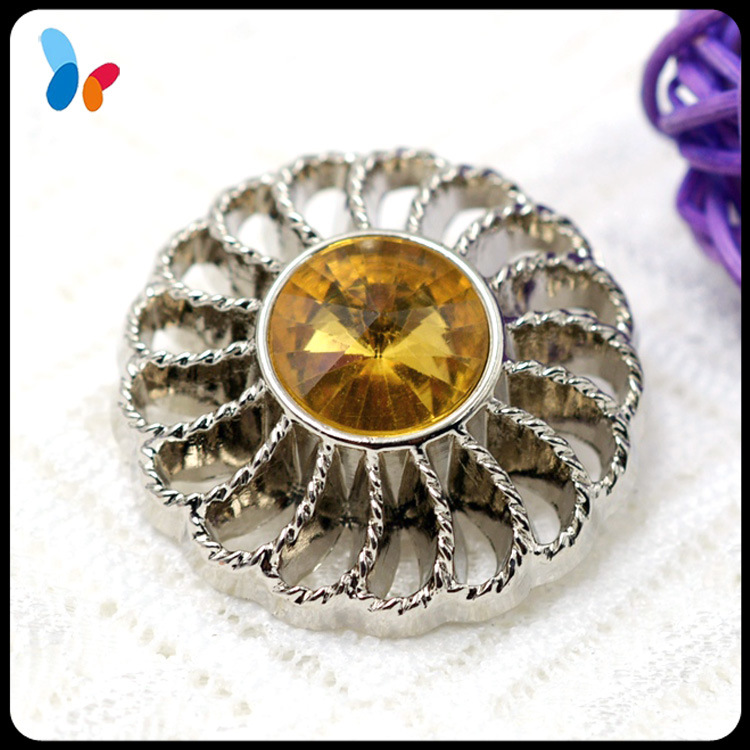 Custom ABS Plastic Hollow out Shank Button with Decorative Rhinestone