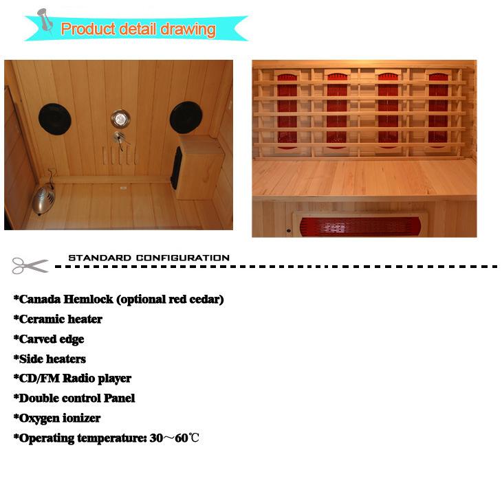 2016 Far Infrared Sauna Room Portable Wood Sauna for 4 People (SEK-DP4)