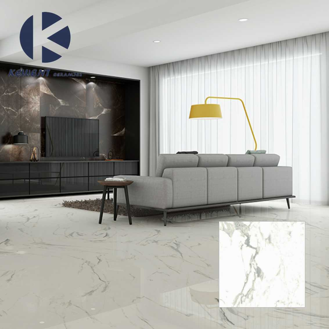 Carrara Marble Porcelain Full Polished Glazed Flooring Tile with Cheap Price