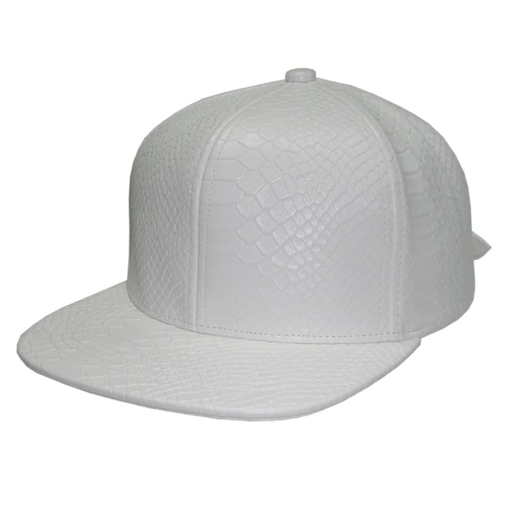 White Snakeskin Faux Leather Cap