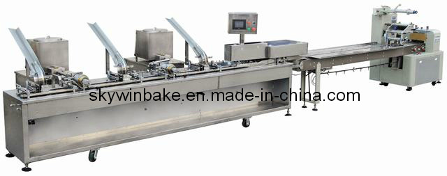 One Row Two Colors (3+2) Sandwich Biscuit Machine, Connected Packaging Machine