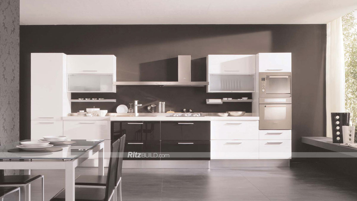 China White and Black Two Colors Kitchen Cabinets, High