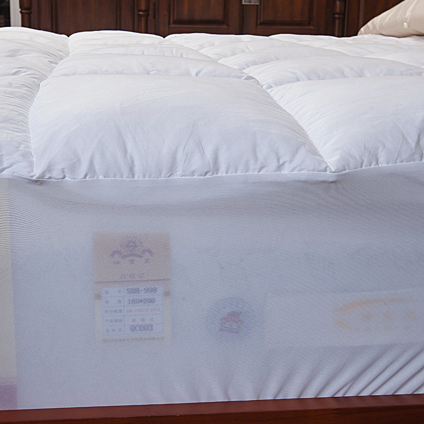 100% Cotton Fabric Polyester Filling Mattress Cover with Skirt