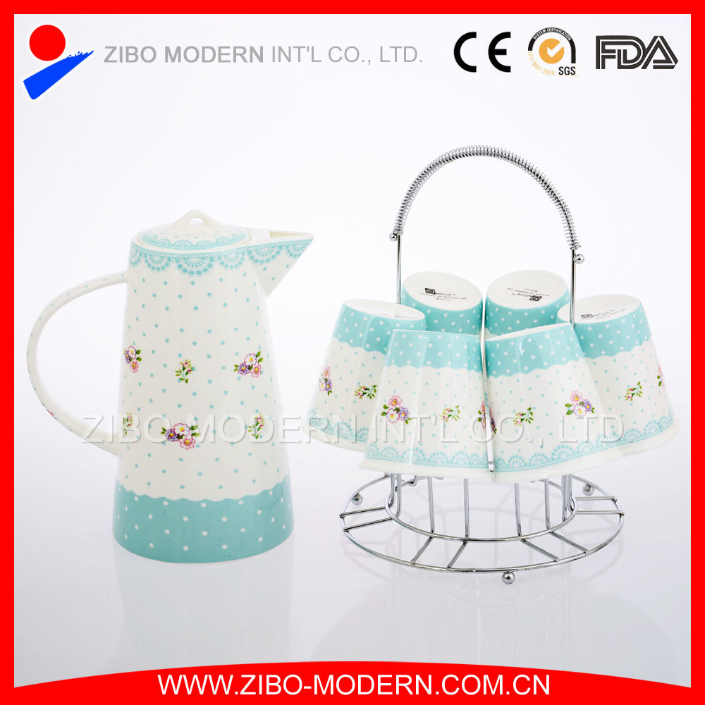 High White Bone China Ceramic Tea Pot and Mug Set