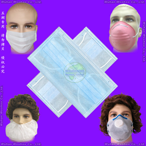 Medical/Hospital/Protective/Safety/Nonwoven 4ply Active Carbon/Dust/Paper/Earloop/SMS/PP 3ply Disposable Surgical Face Mask with Elastic Ear-Loops & Tie-on