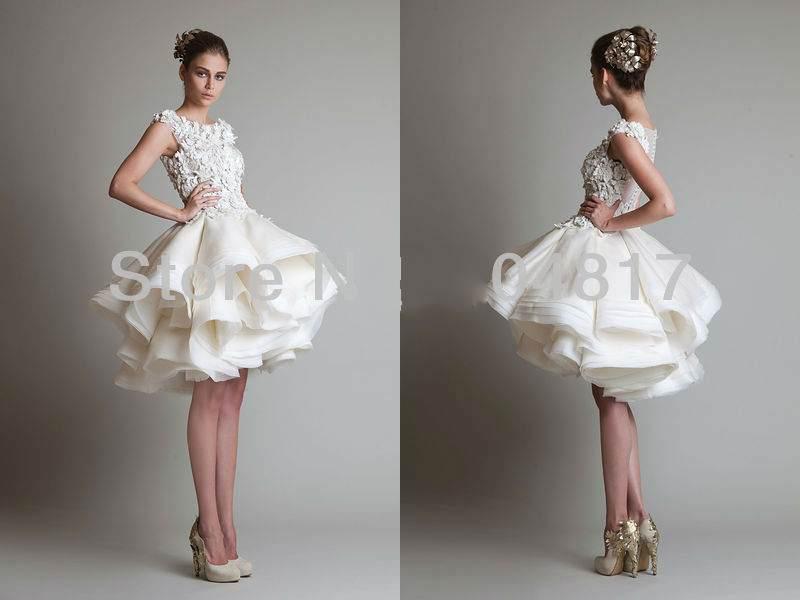 China white ivory lace organza knee length wedding dress for Ivory short wedding dress