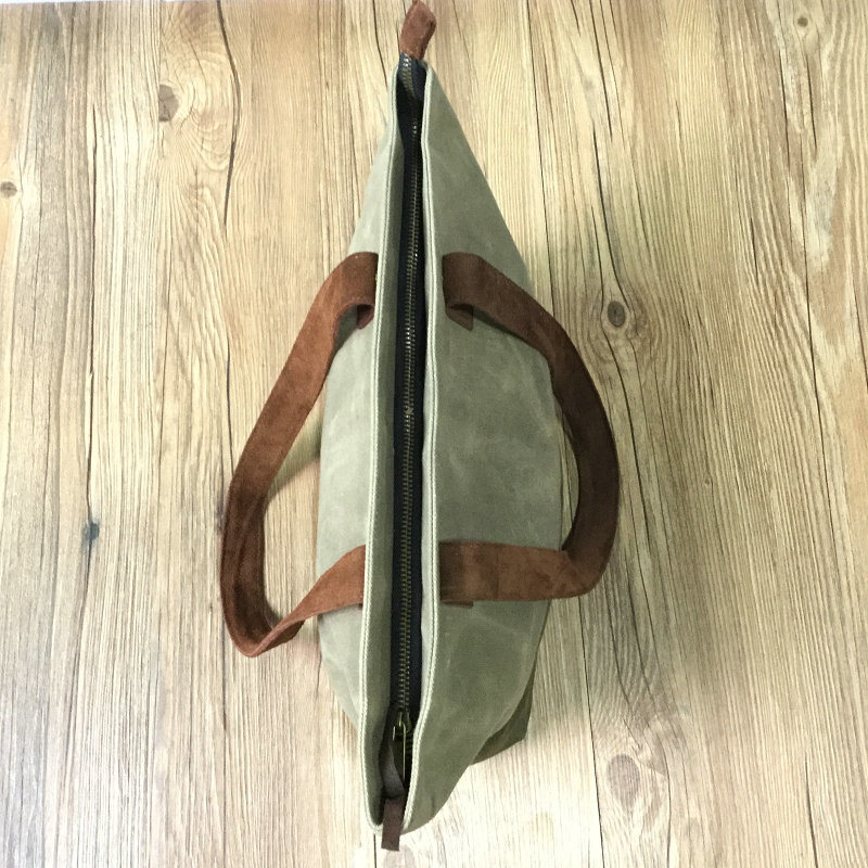 Vintage Simple Waxed Canvas Leather Tote Bag for Ladies