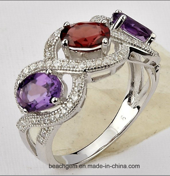 Jewellery Rings Set with Mystic Topaz and Color Stone (TR1222)